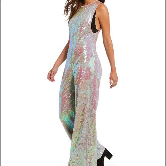 f8d84e5f6f5 Free People • Star Bright Blush Sequin Jumpsuit